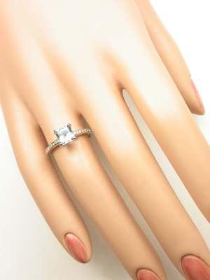 Asscher Cut Aquamarine Engagement Ring