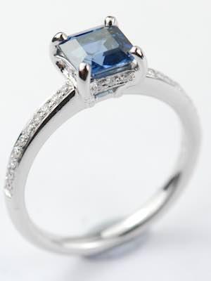 Emerald Cut Blue Sapphire Engagement Ring