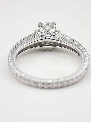 Diamond Engagement Ring with Flower Motif