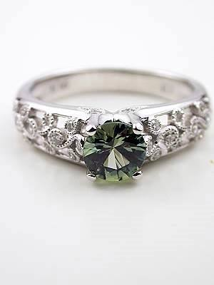 Green Sapphire Engagement Ring with Vine and Leaf Design