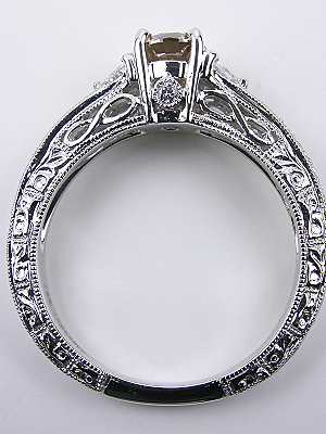 Champagne Diamond Vintage Style Engagement Ring