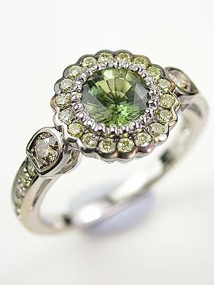 Engagement Ring with Fancy Colored Diamonds