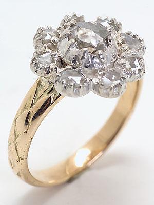 Antique Victorian rose Cut Diamond Engagement Ring