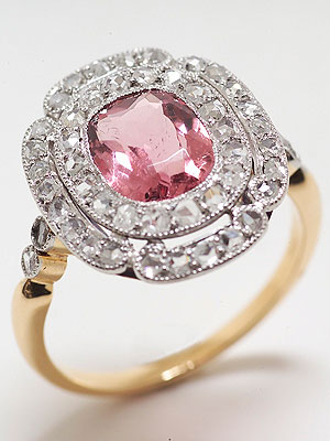 Antique Cocktail Ring with Cushion Shaped Pink Tourmaline