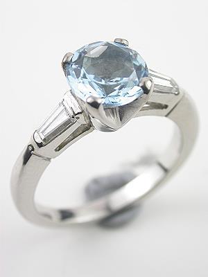 Antique Aquamarine Engagement Ring with Baguette Diamonds