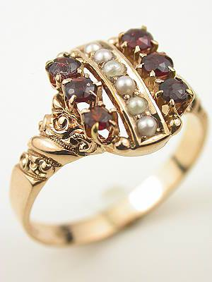 Antique Victorian Garnet and Pearl Ring in Rose Gold
