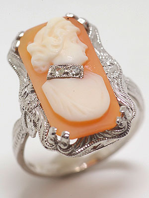Post Art Deco Cameo and Diamond Cocktail Ring