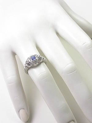 Antique Style Filigree Sapphire Engagement Ring