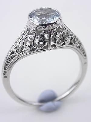 Aquamarine and Pierced Filigree Antique Engagement Ring