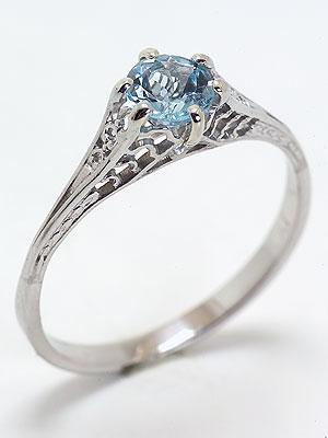 Edwardian Filigree Antique Aquamarine Engagement Ring