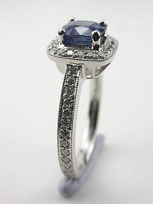 Cushion Cut Blue Sapphire Engagement Ring