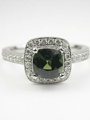 Cushion Cut Green Sapphire Engagement Ring