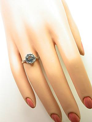 Antique Aquamarine Engagement Ring in Platinum
