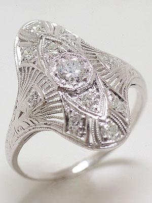 1920s Platinum Filigree and Diamond Dinner Ring