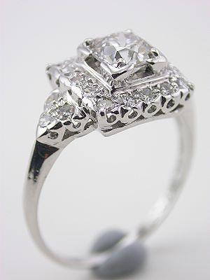 Post Art Deco Platinum Engagment Ring