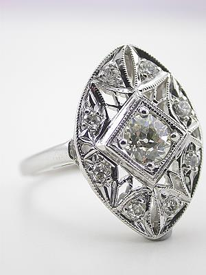 Antique Cocktail Ring with Old European Cut Diamonds