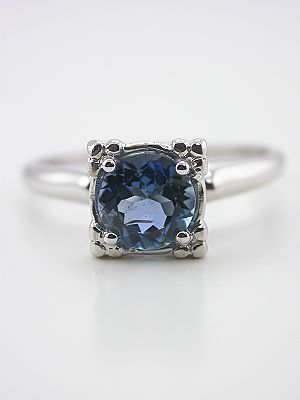 Aquamarine Solitaire Engagement Ring