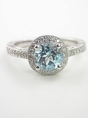 Vintage Style Aquamarine Engagement Ring