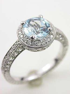 Vintage Style Aquamarine Engagement Ring