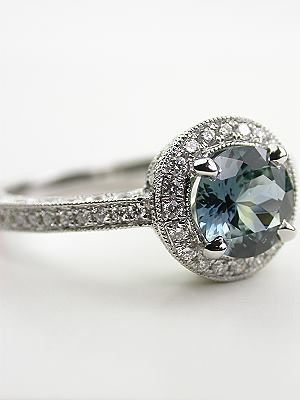 Outstanding Blue Green Sapphire Engagement Ring