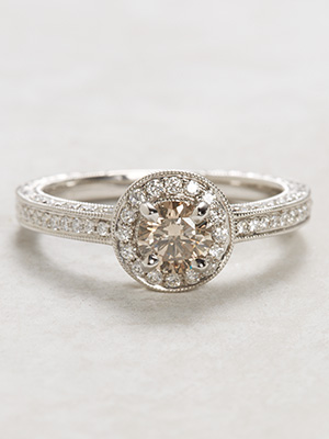 Vintage Style Champagne Diamond Engagement Ring