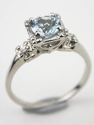 Vintage Aqumarine Engagement Ring with Illusion Setting