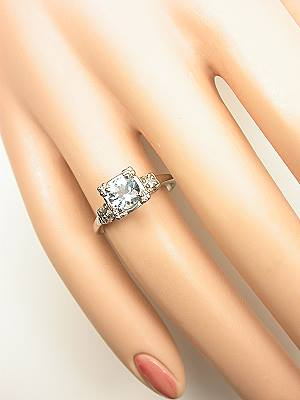 Vintage aqumarine engagement ring with illusion setting rg 2968
