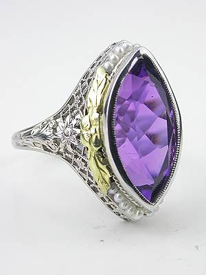 Amethyst Cocktail Ring with Floral and Leaf Motif