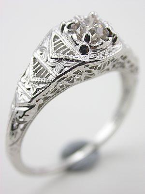 Old European Cut Diamond Engagment Ring with Filigree