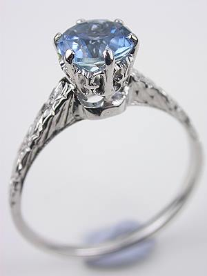 Antique Aquamarine Engagement Ring with Floral Motif