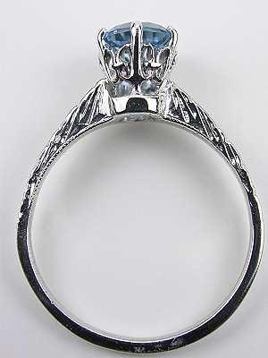 Vintage Aquamarine Engagement Ring with Floral Motif