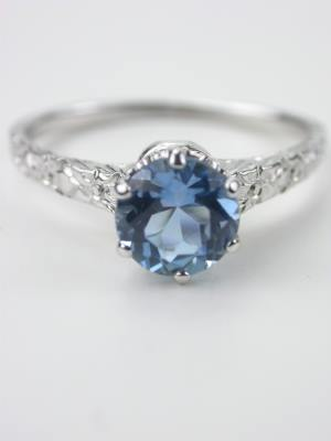 Vintage Aquamarine Engagement Ring with Floral Motif