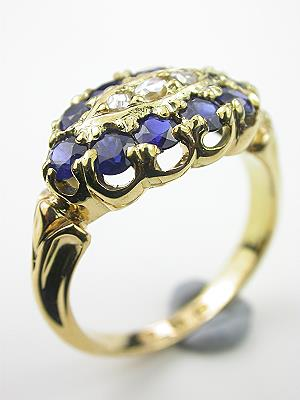 Sapphire and Diamond Princess Style Engagement Ring