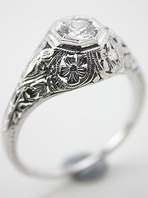 Antique Diamond Engagement Ring by Belais