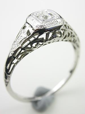 Edwardian Antique Filigree Diamond Engagement Ring