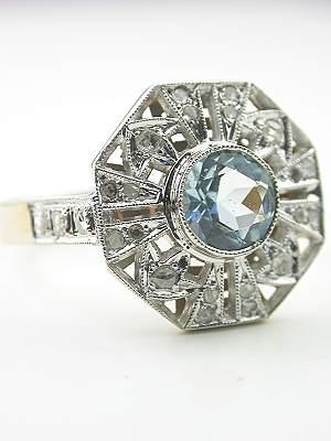 Antique Aquamarine Engagement Ring with Rose Cut Diamonds