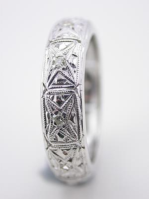 Art Deco Filigree and Diamond Eternity Band