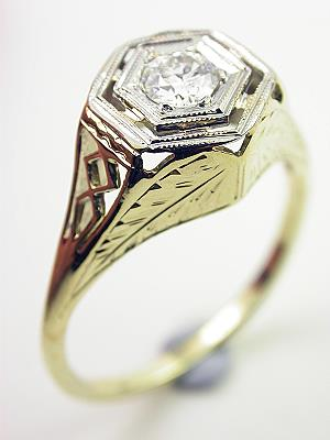 Art Deco Two Toned Diamond Engagement Ring