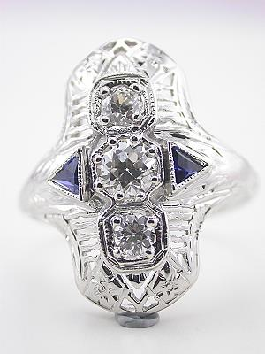 Art Deco Antique Filigree Ring with Sapphires