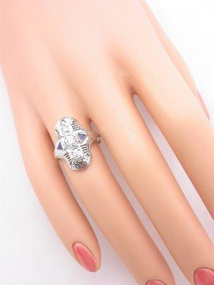 Art Deco Antique Filigree Ring with Sapphires
