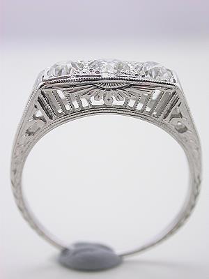 Three Stone Antique Filigree Ring