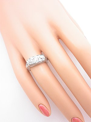 Three Stone Antique Diamond Engagement Ring