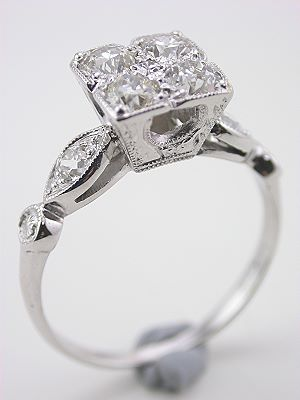 Antique Engagement Ring with Old European Cut Diamonds