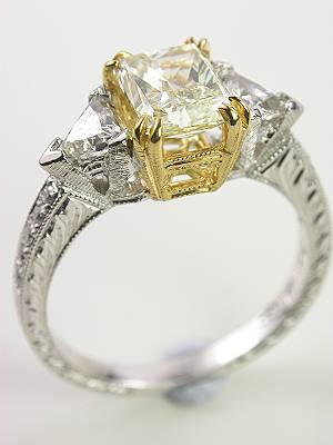 Engagement Ring with Radiant Cut Yellow Diamond
