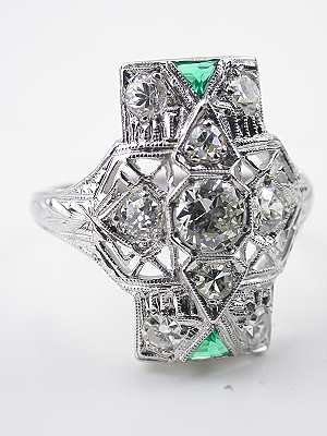 Art Deco Emerald and Diamond Antique Cocktail Ring