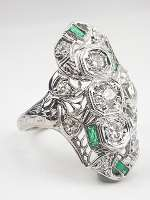 Antique Filigree Emerald and Diamond Dinner Ring