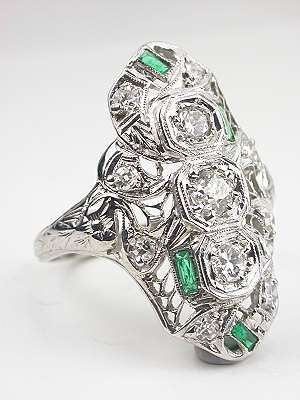 Antique Filigree Emerald and Diamond Dinner Ring