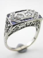 Floral and Filigree Art Deco Antique Engagement Ring