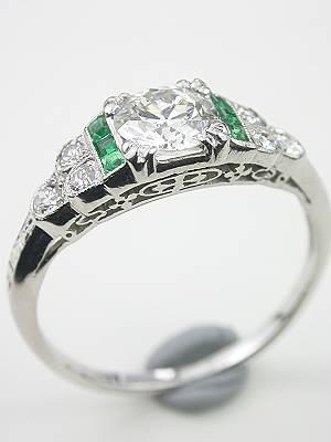 Art Deco Platinum Engagement Ring with Emeralds