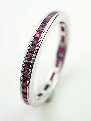 Square Cut Ruby Eternity Band